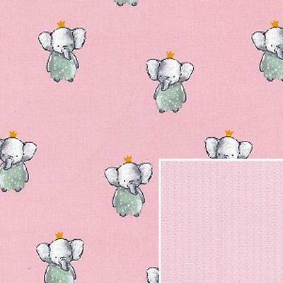 Cotton Fabric - Cute Pink Baby Elephants and Wave Material - Extra Wide