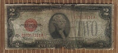 $2 1928D Two Dollar USA Legal Tender Note Red Seal Bill Old Paper Money Deuce1
