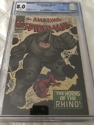 Amazing Spiderman 41 - Cgc 8.0 - First Appearance Rhino 1966 - Classic Cover