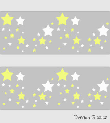 Star Baby Nursery Yellow Gray Wallpaper Border Wall Art Decals Neutral Kids Room