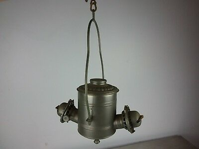 Antique Tin Angle Lamp Co. N.y. Double Burner Hanging Lamp