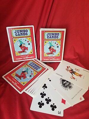 Jumbo Playing Cards Disneyland Walt Disney World Sorcerer Mickey Mouse Complete