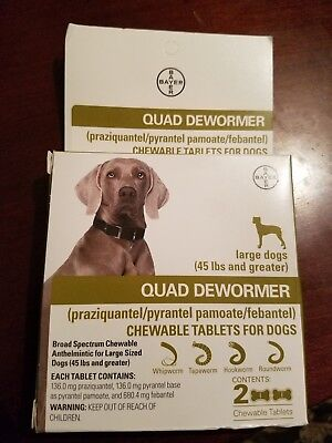 New Bayer Expert Care Quad Dewormer For Dogs 45 Lbs And Over 2 Pack