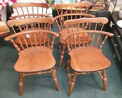 Set of 4 S. BENT & BROS Colonial Chair Solid Wood!!  Mid Century Modern