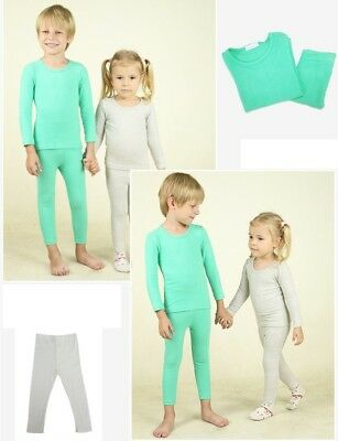 Kids Unisex Thermal Underwear Set Solid Cotton Long Sleeve O-Neck Multicolored