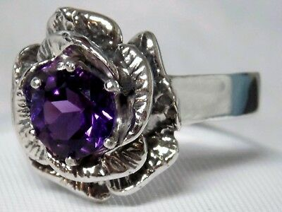 Natural Purple Amethyst Antique 925 Sterling Silver Ring Size 8 Usa