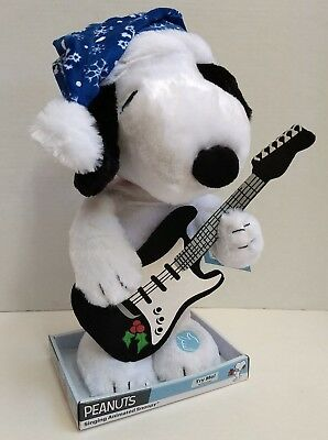 """Peanuts 14"""" Rock & Roll Snoopy Christmas Dancing Guitar Plush Linus & Lucy Music"""