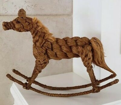 Vintage Rare and Unique Rocking Horse Figure Handmade Out Of Twine Rope