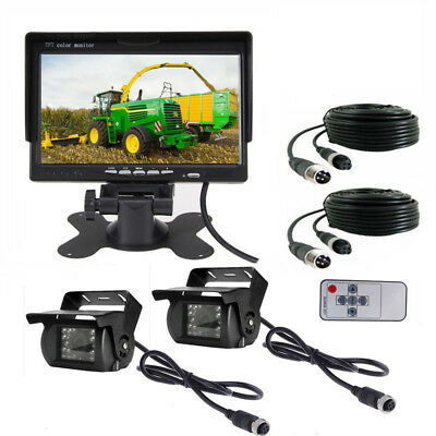 """Dual Weatherproof Backup Rear View Camera 7"""" Monitor for RV Bus Truck Heavy Duty"""