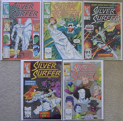 Silver Surfer #20,#23,#25,#29-30 Marvel Comics (5) Comic Run Copper 1989 Avg VF+