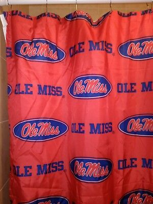 Ole Miss Lined Printed Shower Curtain Bright Red 12 Beaded Metal Snap Rings
