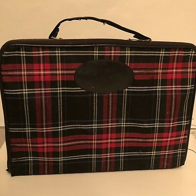 Vintage Plaid Travel Bar Case W/ Bottles & Cups Wooden Interior