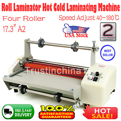 "17.3"" A2 Roll Laminator Speed Adjustable Four Roller Hot Cold Laminating Machine"