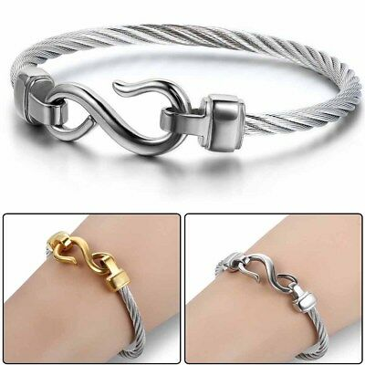 Love Infinity Symbol Charm Stainless Steel Cable Cuff Bangle Bracelet Fashion
