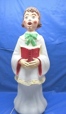 "Vintage Empire Girl Caroler with Hymn Book 31"" Light Up Blow Mold Decoration"