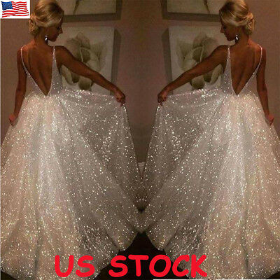 Plus Size Women Sequin Deep V Maxi Dress Backless Party Long Swing Dress Gown US