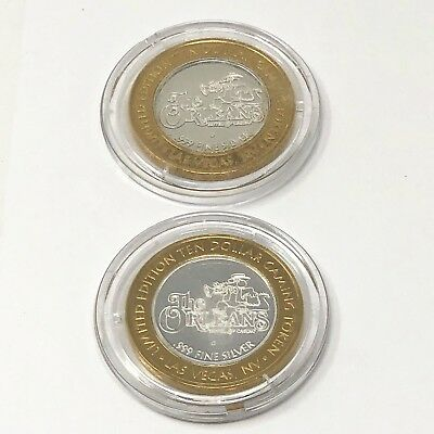 THE ORLEANS Ltd Edition Ten Dollar Gaming Token.999 Fine Silver Casino Coin x 2