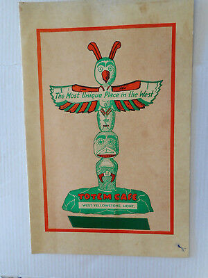 1940's/50's 'TOTEM CAFE' WEST YELLOWSTONE, MONT.    Restaurant  Menu