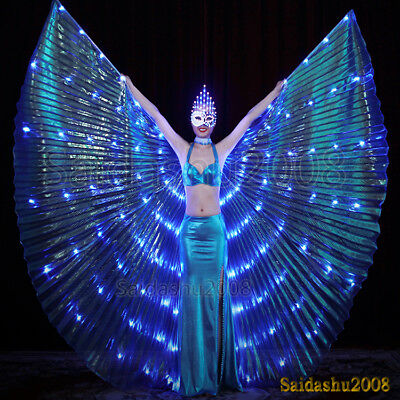 rechargeable  blue 126 led isis wings glow dancer belly dance light up costumes