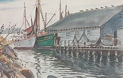 New England Seaport And Boating Dock Printed In The Usa  Free Shipping