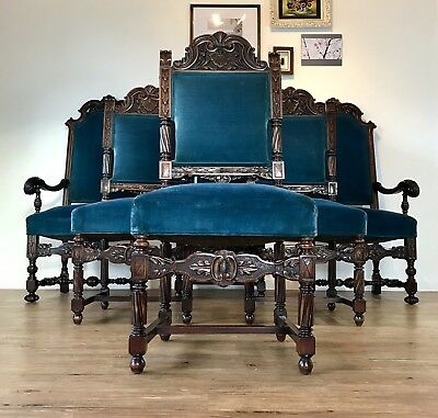 Antique Set of 19th Century English Renaissance Throne Chairs MINT CONDITION