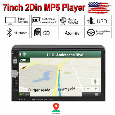 "2 Din 7"" Touch Screen Bluetooth Car Stereo Radio FM USB AUX MP5 Player GPS"