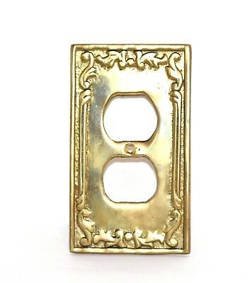 Vintage Wall Plate Two Outlet Cover Solid Cast Metal Bronze/brass Antique Heavy