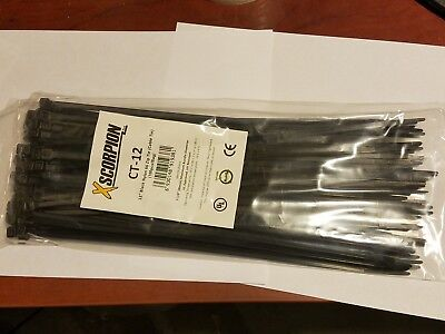 "100 Pack 12"" Black Zip Ties/Cable Ties Heavy Duty Nylon UV Resistant UL Scorpion"