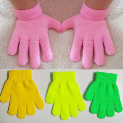 Children Magic Gloves Mittens Girls Boys Kids Stretchy Knitted Winter Warm Glove