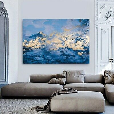 Abstract Blue Gold Framed Canvas Modern Wave Wall Art Stretched Print Prints