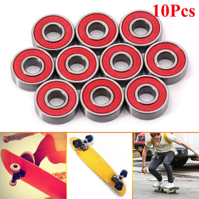 10Pcs Red ABEC-9 608-2RS 608RS Skateboard Roller Sealed Ball Bearings 8x22x7mm