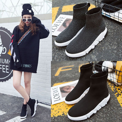 2019 Women's Breathable Sneakers Running Shoes High Top Sock Shoes Sports Shoes
