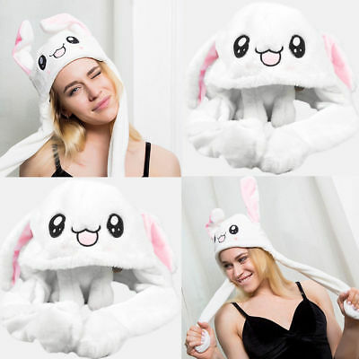 Cute Rabbit Pinching Ear Hat Can Move Airbag Magnet Cap Plush Knit Hat Gift US