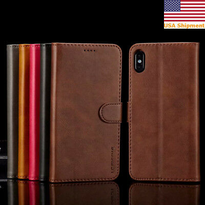 For iPhone X XR XS Max Flip Leather Wallet Card Slots Magnetic Stand Case Cover
