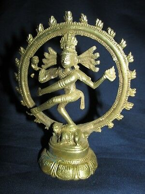 Vintage Dancing Shiva Brass Statue Figurine India Asian Diety 10CmT