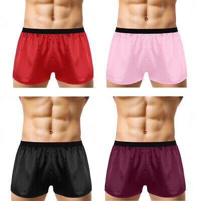 Men Silk Satin Boxers Shorts Underwear Nightwear Lounge Pyjamas Beach Panties