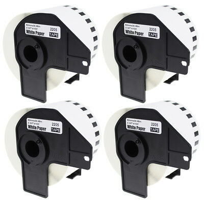 """4 Rolls Compatible Brother DK-2205 White Label Continuous Paper 2-3/7"""" x 100'"""