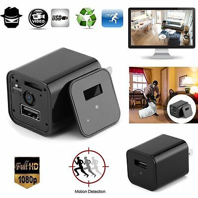 1080P Hidden Spy Camera Adapter USB Wall Charger Video Recorder Home Security US