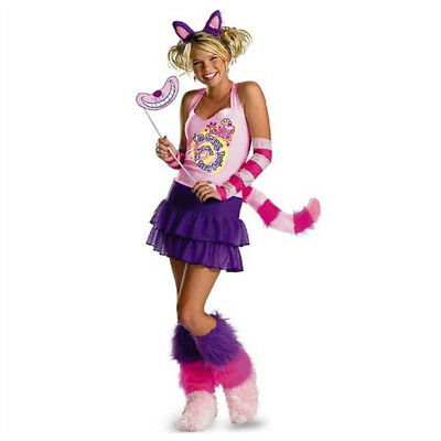 Disney Cheshire Cat Girls Alice Dressing up Outfit Costume Fancydress Halloween