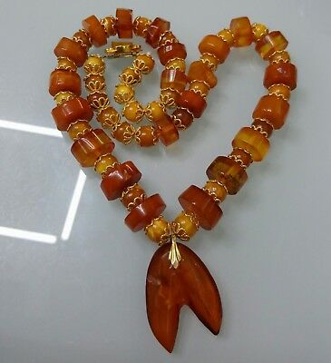 42 gr Natural Butterscotch Egg Yolk Baltic Amber Beads Necklace 真正的琥珀