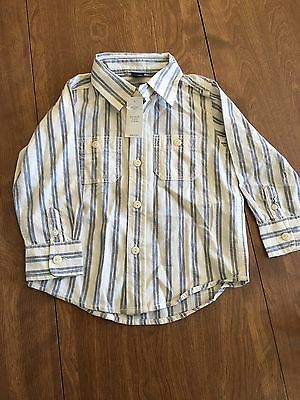 New Baby Gap Boys Long Sleeve Button Up Shirt Size 18-24 Months