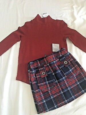 Next Top and Skirt, Age 3, Burgundy Polo Neck and Tartan Wool Blend Skirt