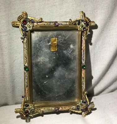 Antique Czech Jeweled Enameled Ormolu Small Picture Photo Frame - Estate Find
