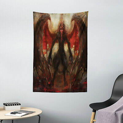 Fantasy Tapestry Devil Wings Flame Print Wall Hanging Decor