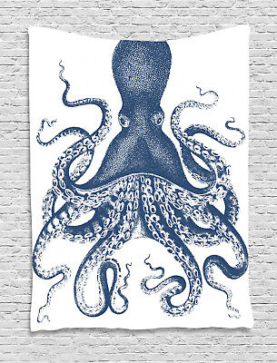 Octopus Tapestry Grunge Sea Creature Print Wall Hanging Decor