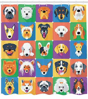 Doodle Shower Curtain Dogs and Cat Collection Print for Bathroom