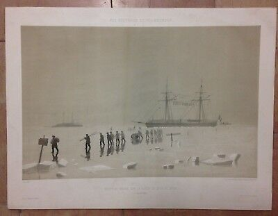 UKRAINE BOAT IN THE ICE BATTLE KINBURN by CICERI 19TH CENTURY LARGE ANTQUE VIEW