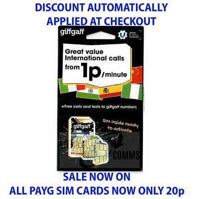 GIFFGAFF PAYG INTERNATIONAL SIM CARD **NOW ONLY 20p** (DISCOUNT AUTO APPLIED)