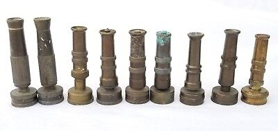 Lot 9 Vintage Brass Nozzles Adjustable Garden Water Hose Spray