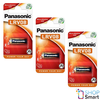 3 Panasonic Cell Power Alkaline 23A Lrv08 Mn21 Batteries 12V 23Ga E23A New